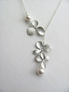 Orchid Pearl Lariat Necklace :)