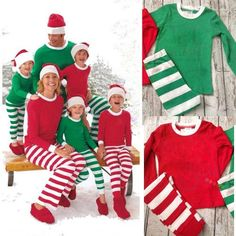 bbc3486cb8 Adult Women Men Matching Family Christmas Sleepwear Pajamas Stripe Cotton  Pajamas Sets Hot