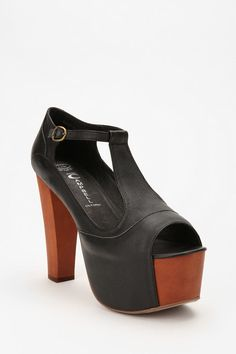 Jeffrey Campbell Foxy T-Strap Heel - the brown version are mental ... Smoke and mirrors of height and the brown leather elegance.