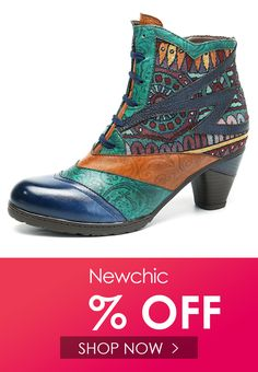 3cbd200ade Socofy SOCOFY Bohemian Splicing Pattern Block Zipper Ankle Leather Boots is  hot-sale. Come to NewChic to buy womens boots online.