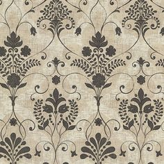 2614-21037 Black Damask - Andalusia - Beacon House Home Wallpaper by Beacon House