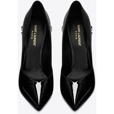 Saint Laurent Classic Paris Skinny 105 Escarpin V Bow Pump ($1,025) ❤ liked on Polyvore featuring shoes, pumps, high heel shoes, crystal shoes, low shoes, crystal pumps and stiletto pumps
