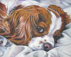 Cavalier King Charles Spaniel portrait CANVAS print of LA Shepard painting 8x10 dog art