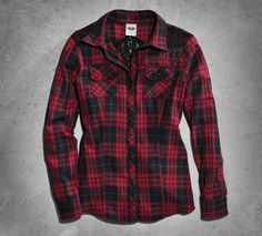 Plaid and lace. Not your traditional combination, which is why we love this women's long sleeve top. You're hardly one for convention, so we created this shirtl to capture your unexpected flair for style. This is a total winner with black jeans and a cute knit beanie. | Harley-Davidson Women's Lace Plaid Shirt