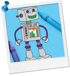Robot Coloring Page. Birthday in a box