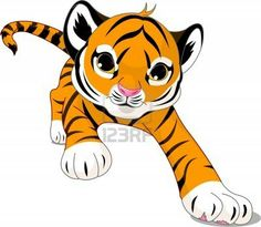 how to draw a cute baby tiger step by step