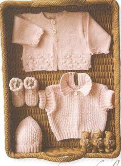 Knitting Patterns Vintage baby knitting pattern, self knitting, baby, hat, baby shoes Baby Knitting Patterns, Knitting Stitches, Free Knitting, Baby Pullover, Baby Cardigan, Baby Set, Brei Baby, Crochet Baby, Knit Crochet