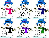 Snowman Number Cards: You can use these little guys in a couple ways; Have your child put them in numerical order, put mini-clothes pins on them (the correct number of pins based on the number on the card) or colored paperclips. I added little snowflake counters for you to use. She was tired of counting, so I had her put them in numerical order instead.
