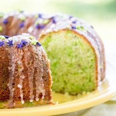 Pistachio Cake made from boxed mix and instant pudding and topped with a simple glaze