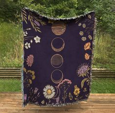 Moon Phase Blanket in Purple with Flowers Cotton Meditation | Etsy