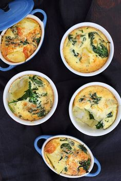 Potato and Baby Spinach Frittatas recipe perfect for a tapas table or light supper Breakfast Hash, Breakfast Recipes, Veggie Cakes, Middle Eastern Dishes, Frittata Recipes, Western Food, Cooking Recipes, Tapas Recipes, What's Cooking