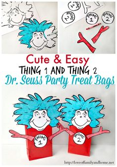 Thing 1 Thing 2 Dr. Seuss Party Treat Bags