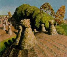 """""""Iowa Cornfield"""" study by Grant Wood. oil on masonite. In the collection of The Figge Art Museum, Davenport, IA. Grant Wood Paintings, Artist Grants, American Gothic, Autumn Art, Art Institute Of Chicago, Fantastic Art, American Artists, American Realism, Les Oeuvres"""