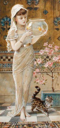 Illustrations, Illustration Art, Vintage Images, Vintage Art, She And Her Cat, Goldfish Bowl, Pics Art, Beautiful Paintings, Cat Art