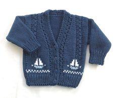 Boy's knit cardigan with sailboats, Kids sailboat cardigan, Toddler jumper
