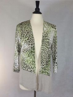 Chicos Womens Cardigan Travelers Classic Animal Print Jacket Top SZ 2 12/14 NWT #Chicos #Jacket #Career