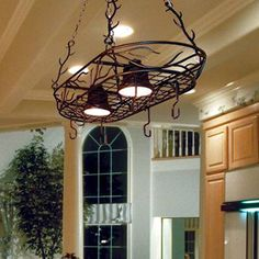 Shop Kenroy Home Twigs 26 in W 2 Light Bronze Hardwired Lighted Pot RackPortfolio 2 Light Antique Bronze Hardwired Hanging Lighted Pot  . Lowes Hanging Pot Rack With Lights. Home Design Ideas