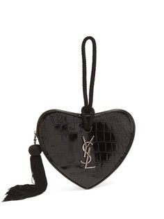 627a68b999b Saint Laurent Love Heart crocodile-effect leather clutch Rug Hooking,  Leather Clutch, Love