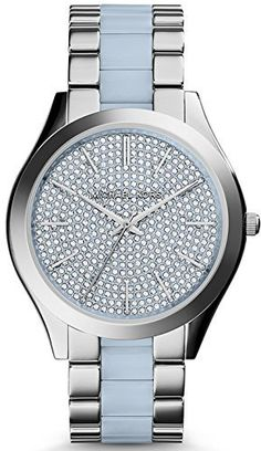 Michael Kors MK4297 Women's Slim Runway Silver, Blue Stainless Steel Band with Blue and Silver Dial Watch