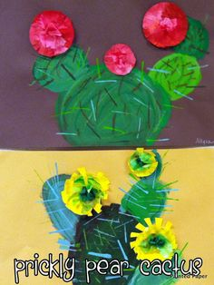 PAINTED PAPER: prickly pear cactus with coffee filter flowers painted with watercolors Classroom Art Projects, Art Classroom, Kindergarten Art, Preschool Art, Georgia O'keefe Art, 2nd Grade Art, Fourth Grade, Ecole Art, Art Curriculum