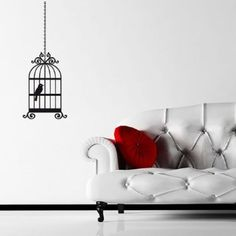 Bird In A Cage Wall Sticker / Decal - Black - W30 x H79: Amazon.co.uk: Kitchen & Home