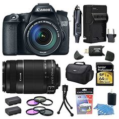 Canon EOS 70D 20.2 MP Digital SLR Camera with Dual Pixel CMOS AF and EF-S 18-135mm F3.5-5.6 IS STM Kit Bundle with Canon EF-S 55-250mm f/4.0-5.6 IS II Telephoto Zoom Lens, 64GB High Speed Card, Spare Battery (Qty 2), Rapid Charger, Filters   MORE! * See this great product.