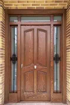 Puertas Para Exteriores | Puertas Innova S.L.U Wooden Double Doors, Wooden Front Door Design, Modern Wooden Doors, Double Door Design, Modern Front Door, Wooden Front Doors, Wood Doors, Front Doors With Windows, Double Front Doors