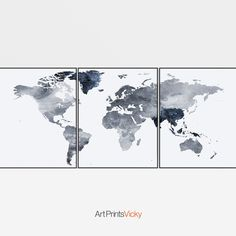 World map, set of 3 prints, World Map Art, World Map Poster, All Poster, 3 Piece Wall Art, Skyline Art, Metallic Colors, Illustrations And Posters, Triptych, Fine Art Prints