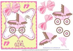 Sweet topper It s a Girl  on Craftsuprint designed by Di Simpson - Sweet topper for new little baby Girl. With 3D elements to bring to life. - Now available for download!