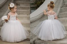 Find More Dresses Information about 2016 Elegant princess white/ivory lace flower girl dresses beautiful  wedding birthday parties ball gowns,High Quality gown prom,China dress elephant Suppliers, Cheap dress dying from snowkiss on Aliexpress.com