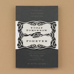 Today and Forever Invitation Black Unique design This exceptional invitation features a black insert card printed with your wording and an intricately laser-cut, latte shimmer wrap that speaks of a lifetime spent together. Lazer Cut Wedding Invitations, Wedding Invitation Trends, Black And White Wedding Invitations, Laser Cut Invitation, Destination Wedding Invitations, Invitation Ideas, Invitation Wording, Wedding Planning, Cinderella Invitations