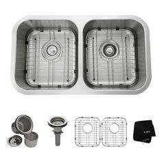 Kraus Kitchen Sink 18-in x 31.38-in Stainless Steel Double-Basin Undermount Residential Kitchen Sink All-In-One Kit