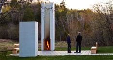 Mood board inspiration - outdoor fireplace  Modern Classroom by Salmela Architect | Plastolux