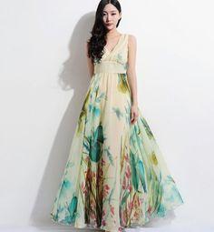 Floral Aline Maxi Dress Bohemian Wedding Bridesmaid by ChineseHut, $159.00