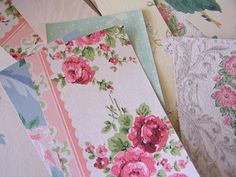 Vintage Wallpaper Packet Scraps for Cards collage by Jenz4seasons, $14.99