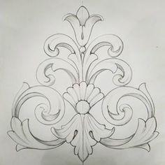 Log in # drawingart # drawing # drawing # pencil # pencil # illust – Zeichnung Wood Carving Designs, Wood Carving Patterns, Jewelry Illustration, Pencil Illustration, Stencil Art, Stencil Designs, Oak Tattoo, Woodworking Ornaments, Molduras Vintage