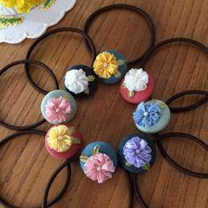 リボン刺繍のヘアゴム #3〜10