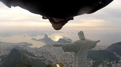 Two Wingsuit Pilots Performing a Flyby of the Christ the Red.- Two Wingsuit Pilots Performing a Flyby of the Christ the Redeemer Statue in Rio De Janeiro Two Wingsuit Pilots Performing a Flyby of the Christ the Redeemer Statue in Rio De Janeiro - Cristo Corcovado, Yoga Fitness, Wingsuit Flying, Christ The Redeemer Statue, Pack Up And Go, Base Jumping, Extreme Sports, Wonderful Places, Kayaking