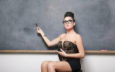 Portrait of sexy teacher