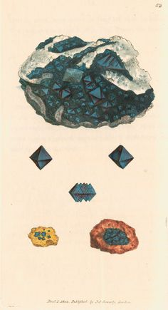Cuprum oxygenizatum - Specimens of octahedral cuprite crystals, here termed 'crystallized red oxide of copper'. Plate 53 from British mineralogy: or coloured figures intended to elucidate the mineralogy of Great Britain, by James Sowerby, volume 1 (London, R.Taylor & Co., 1804).