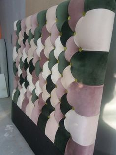MDF base, polyurethane foam or rubber foam, covered like upholstered furniture. attach with Velcro to the wall - Salvabrani