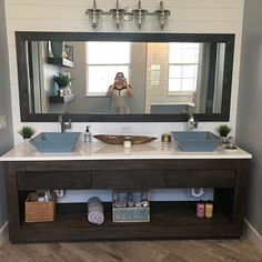 Rustic Industrial Vanity - Dual Sink Reclaimed Barn Wood Vanity w/Sliding Doors Rustic Vanity, Rustic Bathroom Vanities, Wood Vanity, Bathroom Storage, Barn Wood Cabinets, Mudroom Cabinets, Barn Tin, Rustic Kitchen Island, Rustic Farmhouse