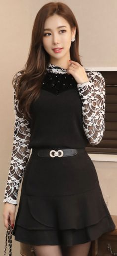 StyleOnme_Two Tier Mini Ruffle Skort #black #miniskirt #pants #feminine #koreanfashion #kstyle #kfashion #seoul #falltrend