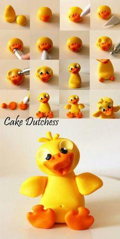 Duck by cake Dutchess Fondant Toppers, Fondant Cakes, Cake Fondant, Cake Dutchess, Decors Pate A Sucre, Crea Fimo, Fondant Animals, Fondant Decorations, Polymer Clay Animals