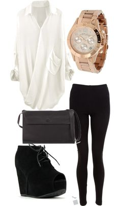 Who says you always have to wear a cocktail to go out on a nice date? Make your plain leggings look expensive with the right accessories.  Like this look? Shop similar leggings from My House of Chic on Amazon! Our top rated leggings come in multiple colors, and sizes. Check it out!