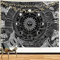 Funeon Black and White Tapestry Wall Hanging 82x60 inches Sun and Moon Tapestry for Teen Girls Boys Room Dorm College Tapestry Cute Sun with Stars Mountain Tapestries Indie Room Decor Aesthetic