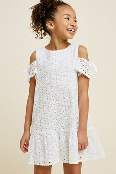 Eyelet cold-shoulder swing dress in 2019 Summer Fashion For Teens, Kids Fashion, Fashion Outfits, Style Fashion, White Dress Summer, Summer Dresses, Summer Clothes, Girls Dresses, Flower Girl Dresses