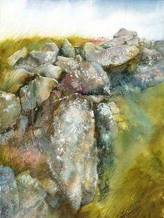 Anne Blockley artist paints sea pinks and tumbling rocks Watercolor Landscape Paintings, Watercolor Artists, Watercolor Texture, Watercolor Techniques, Abstract Watercolor, Watercolour Painting, Landscape Art, Watercolors, Watercolor Trees