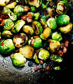 Brussel Sprouts with Bacon Maple Vinaigrette...yummo!   Ok this is for you neighbors...lol going too make for my fam,not me though!