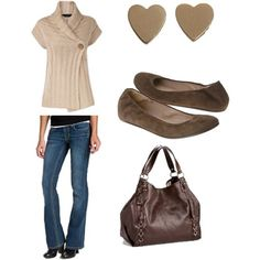 Casual fall outfit.  LOVE the sweater